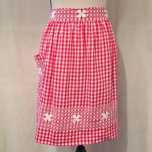 Vintage hand made red white gingham half apron